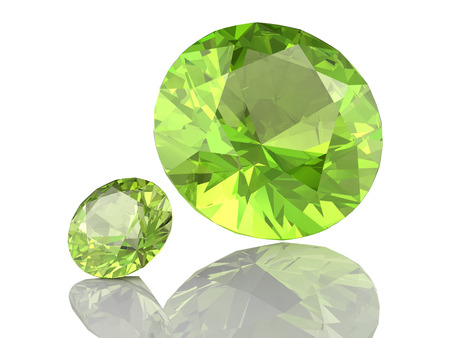 Peridot gem on white background .3D illustration