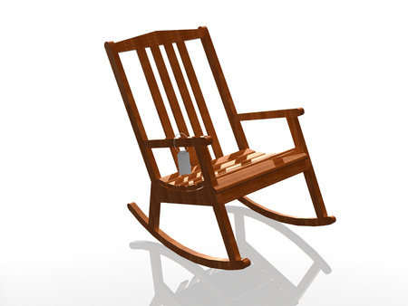 rocking chair on white (high resolution 3D image) 3D illustration