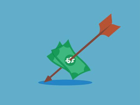 dollar target hit with arrow  vector illustration.