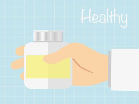 Hand holding medicine bottle to read label ,vecter healty concept