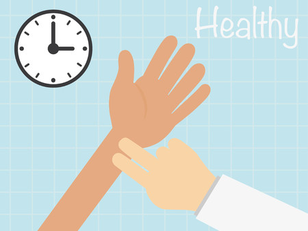 PULSE: docter checks the pulse ,vecter healty concept Illustration