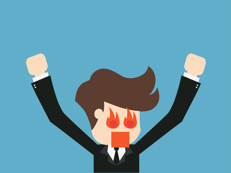 rage: Business man to rage and flame in head. vector illustration.
