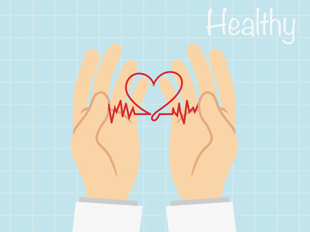 Heartbeat  heart beat pulse flat vecter  for medical apps and websites