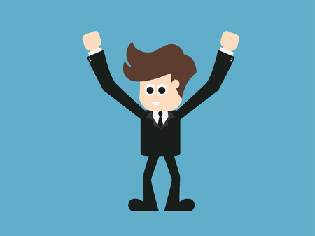 epicurean: businessman happy when the end of the month. vector illustration.