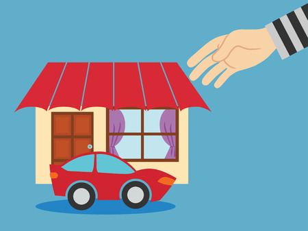 stealing: Thieves stealing a house. vector illustration.