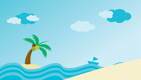 Vector beach with waves  and blue sky Illustration