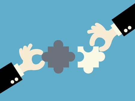 matching: business matching - connecting puzzle elements.vector illustration. Illustration