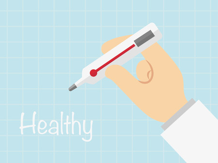 Thermometer in hand vecter, healty concept Illustration