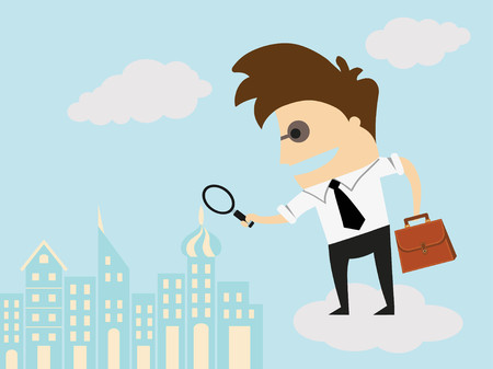 Business man examining  with magnifying glass. Recruitment and choosing best candidates concept. Human resources management, finding professional employees