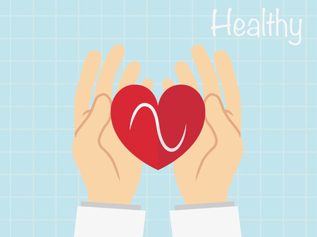 assisted: Red heart in  the hand ,vecter healty concept
