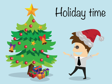 passive income: Businessman relaxing holiday time ,vector