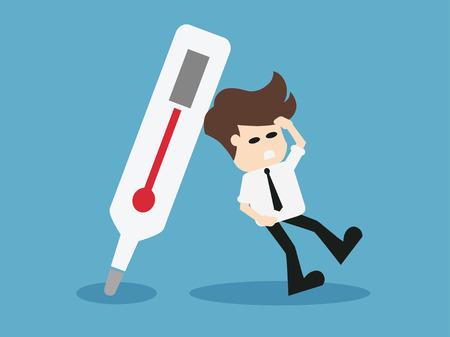 Man needs medicine.vector illustration.