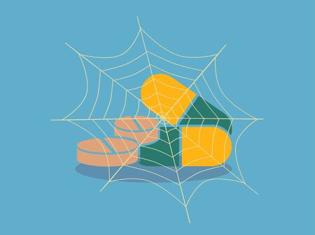 pill with cobwebs .vector illustration.