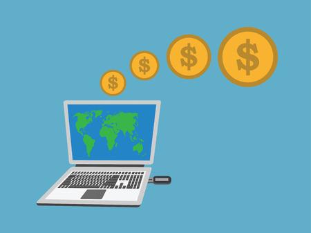 laptop shopping online .vector illustration