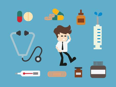 attempt: Man needs medicine.vector illustration.