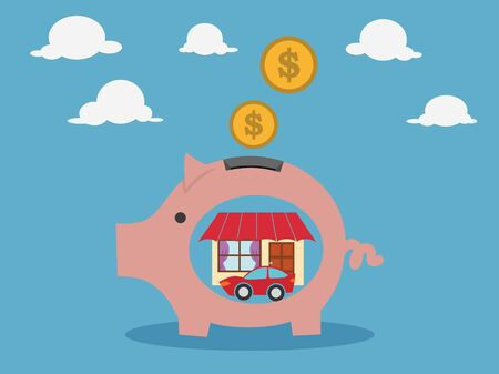 Pink pig-moneybox. Save money for house property .vector illustration.