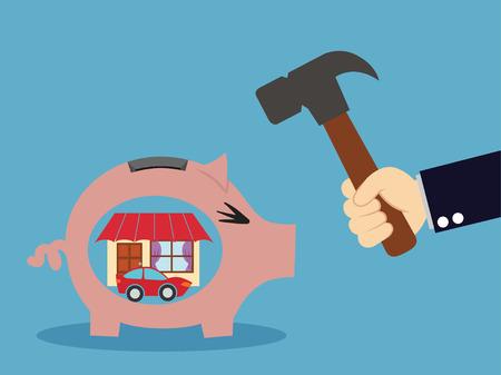 break down: Break down piggy moneybox.vector illustration.