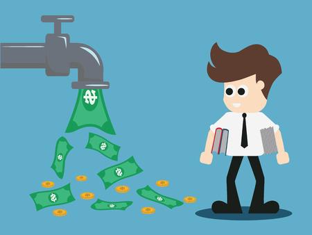 abrir dinero de faucet. Ilustración vectorial