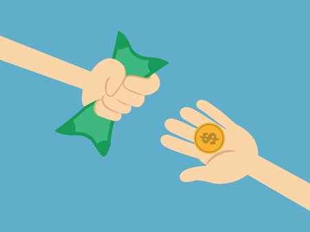 passive income: Hand holding money dollars. Financial and business concept. vector illustration. Illustration