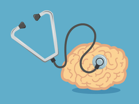 Shape of human brain as organ, which is head of stethoscope.vector illustration.