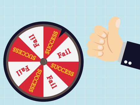 wheel of fortune: Businessman rotate success failure in wheel of fortune