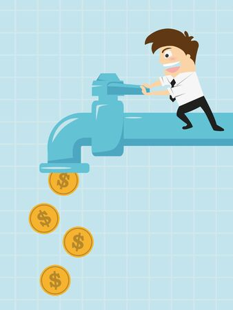 businessman open water tap with coins Stock Photo