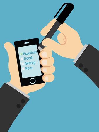 customer service survey form on screen mobile Stock Photo