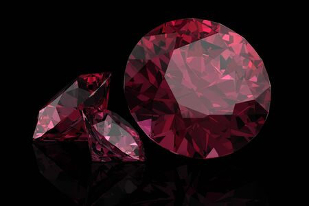 Ruby or Rodolite gemstone(high resolution 3D image)