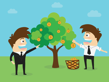 Young Man harvest monney from the tree . Business Concept Illustration