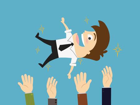 bravo: Success businessman being thrown in the air  Flat design illustration