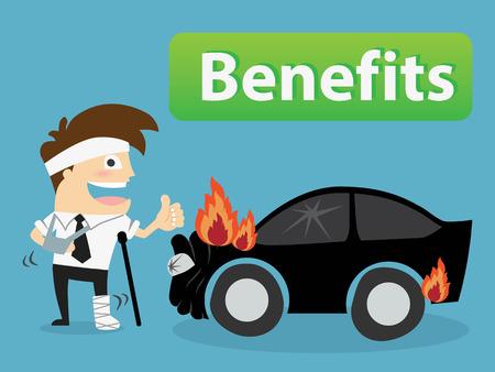 compensation: injured man .benefits concept Vector