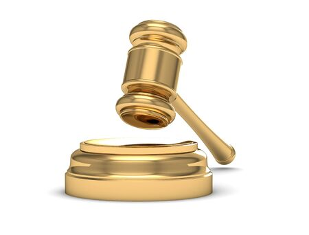 Golden judge gavel isolated on white  (high resolution 3D image) Stock Photo