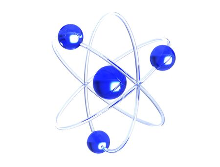 Orbital model of atom - physics 3D illustration