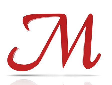 3d shiny red letter collection - M Stock Photo