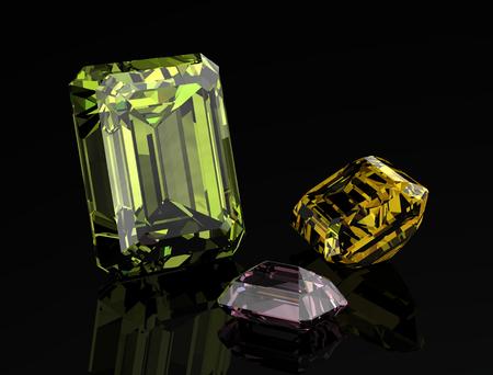 Jewel or gems on black shine color, (high resolution 3D image) Stock Photo