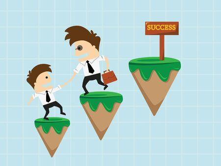financial adviser: Financial adviser or business mentor help team partner up to profit growth Illustration