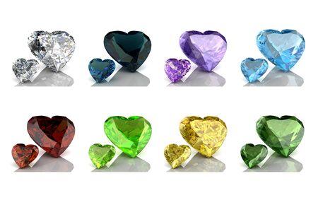 Colored gems set. 3D rendering illustration