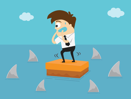 Worried businessman standing on the box in the middle of the sea and surrounded by sharks. Business Concept Cartoon Illustration. Risk taker.