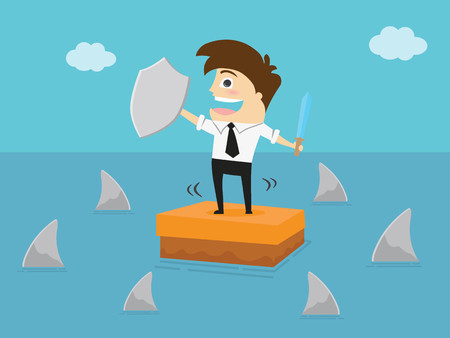 Businessman with a shield in hand standing on the box in the sea and surrounded by sharks. Business Concept Cartoon Illustration. Ilustração