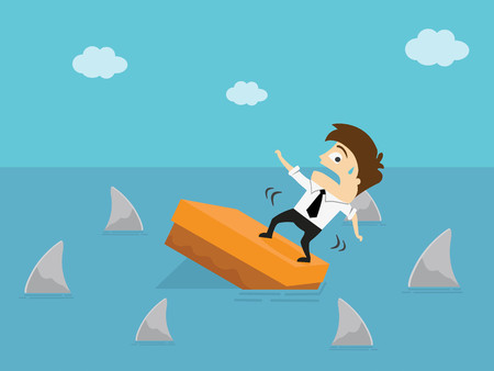 Worried businessman standing on a box in the sea and surrounded by sharks. Business Concept Cartoon Illustration. Risk taker. Ilustração