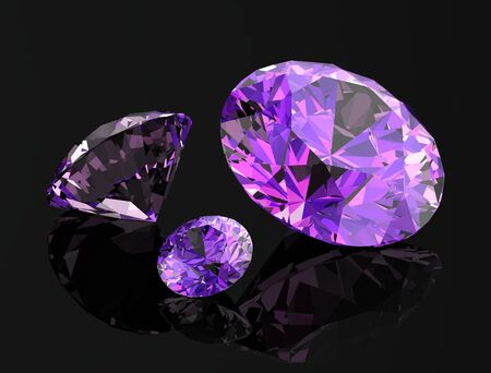 amethyst on black background.3D illustration