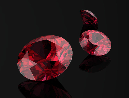 Ruby or Rodolite gemstone on black background.3D illustration