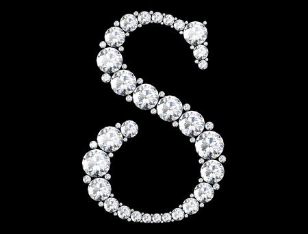 Diamant-Buchstaben mit Edelsteinen (hochauflösendes 3D-Bild) Standard-Bild - 81163458
