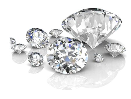 diamond on white background (high resolution 3D image) Stock Photo