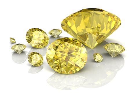 Illustrazione lucido bianco zaffiro giallo (immagine 3D ad alta risoluzione) Archivio Fotografico