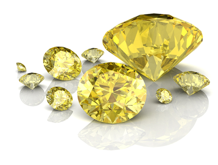 Shiny white yellow sapphire illustration (high resolution 3D image)