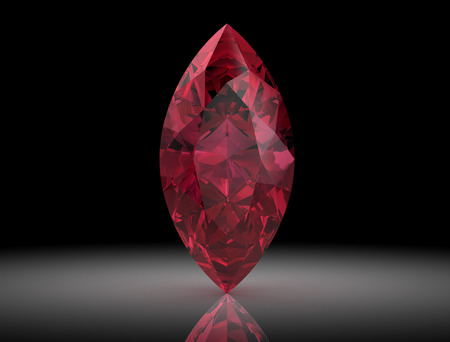 reflection: Ruby or Rodolite gemstone on black background.3D illustration