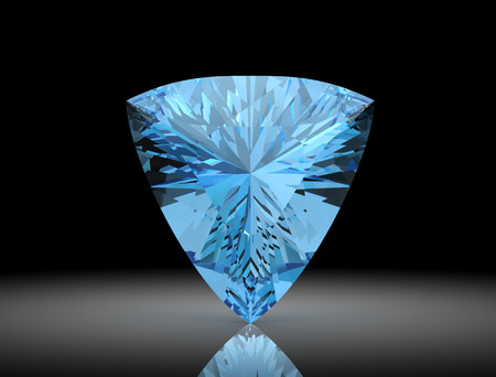 Aquamarine on black background.3D illustration
