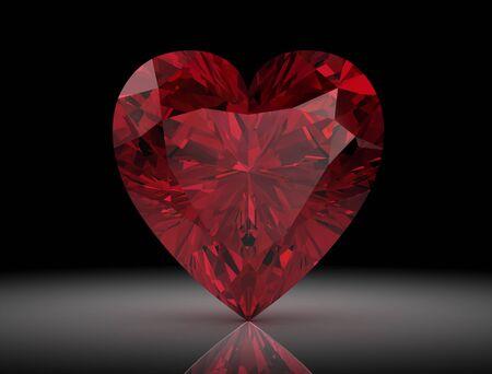 bright: Ruby or Rodolite gemstone on black background.3D illustration