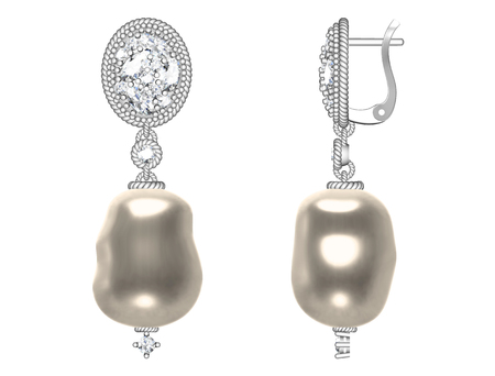 The beauty pearl earrings on white background (high resolution 3D image)